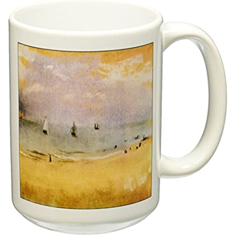 3dRose mug _ 100755_ 2Impressionist pittura spiaggia con barche a vela da Edgar Degas Tazza (Barche Bere)