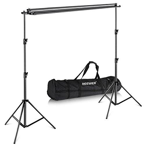 Neewer Hintergrundsystem mit Tragetasche - Maximal 3×3 Meter für Fotografie Muslin, Papier und Canva Kulisse