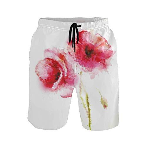 BHWYK Men's Summer ShortsLittle Red Spring Summer Time Garden Florals Field Po,Size:XL - Boxer Garden Flag