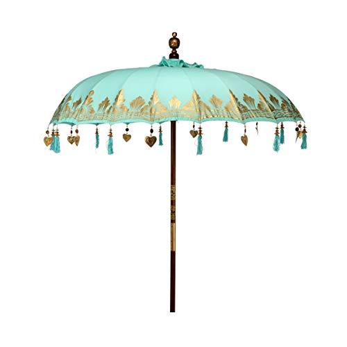 BUTLERS Oriental Lounge Sonnenschirm Türkis Ø 180 cm - Sonnenschutz aus 100{4b98ca2cbcb8ddfd5024f9f0ea0716e0e0bede813db275fb9dcad60382c4c593} Baumwolle - Gartenschirm, Terrassenschirm