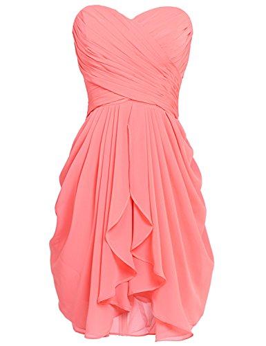 Sarahbridal Damen Mini Chiffon Ballkleid Herzenform Abendkleider Faltenrock Abschlussballkleider SSD247 Koralle EU36