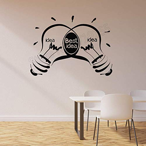 zqyjhkou Kreative Büro Ideen Glühbirnen Business Inspirational Wandaufkleber Zitate Beste Idee Logo Abnehmbare Kunst Innenaufkleber Zw333 76x57 cm