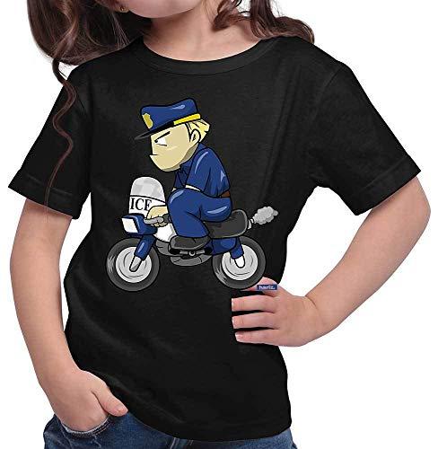 HARIZ Mädchen T-Shirt Polizist Lustig Motorrad Polizei Cops Inkl. Geschenk Karte Schwarz 116/5-6 Jahre