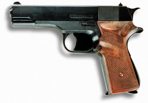 """Edison Giocattoli \""""Jaguarmatic\"""": Spielzeugpistole für Zündplättchen, robuste Qualität, für 13-Schuss-Streifenmunition, 16.5 cm, schwarz (E0250/22)"""