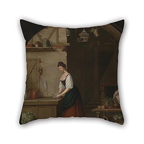 Niice Taie d'oreiller de peinture à l'huile John Atkinson–Fille d'ordinateur à asperges 45,7x 45,7cm/45par 45cm Meilleur pour chaise de bureau adultes Maison adolescents Filles Canapé double côtés
