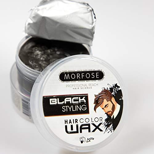 Morfose Color Haar Wax Schwarz 100ml Farbig Hair Wachs Black Haarwachs mit Farbe Verdichtet dünnes Haar und deckt graues Haar