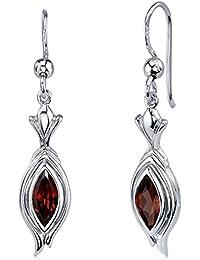 Revoni Damen-Ohrringe 925 Sterlingsilber Granat 1.50 Karat rot