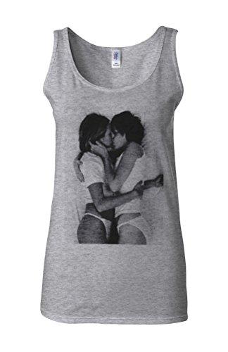 Lesbian Kiss Sexy Girls Funny Novelty White Femme Women Tricot de Corps Tank Top Vest Gris Sportif