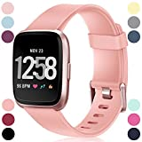 HUMENN Compatible for Fitbit Versa Strap, Classic Adjustable Replacement Sport Wristband for Fitbit Versa/Fitbit Versa Lite Edition, Small Peach