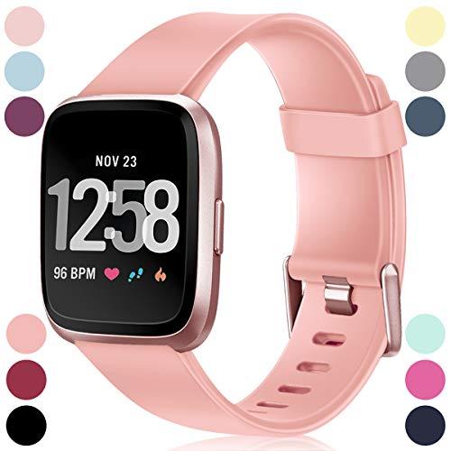 HUMENN Armband Für Fitbit Versa/Fitbit Versa 2, Classic Weiches Sports Ersetzerband Verstellbares Zubehör Uhrenarmband für Fitbit Versa, Klein Pfirsich
