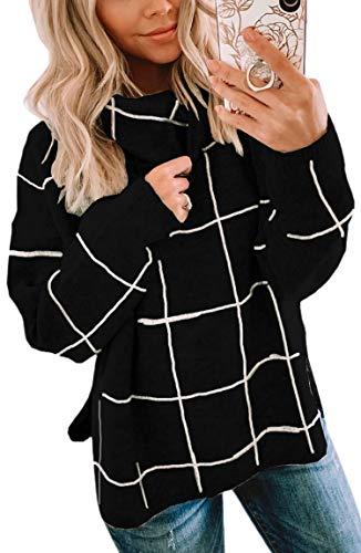 Spec4Y Damen Pullover Langarm Rollkragenpullover Oberteile Kariert Strickpullover warm Outwear Top Winter Sweatshirt Schwaz Medium