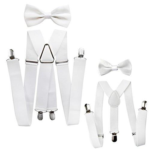 axy® Vater-Sohn Partnerlook Hosenträger mit Fliege Set für Herren-Damen-Kinder (Weiss (Herren 3,5cm + Kinder Hosenträger Breit 2,5cm)) Dame Krawatte
