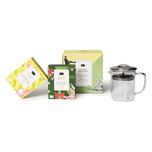 P & T Garden Delights Set, Hitzebeständige Borosilikatglas Teekanne, modernes Design (400 ml / 13.5oz), Box of 4 Sprite\'s Delight (Grüntee) und Box of 4 Unter den Linden (Kräuterteemischung)