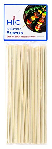 HIC Bamboo BBQ, Kabob and Grill Skewers, 8-Inches Long, Set of 100 by HIC Harold Import Co.