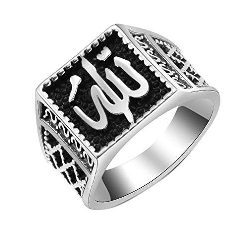 UGUAX Vintage Silber Muslim Islam Allah Ring Punk Religiöse Statement Ring Schmuck für Herren Silber