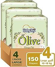 BabyJoy Olive Oil, Size 4, Large, 10-18 kg, Mega Box, 150 Diapers