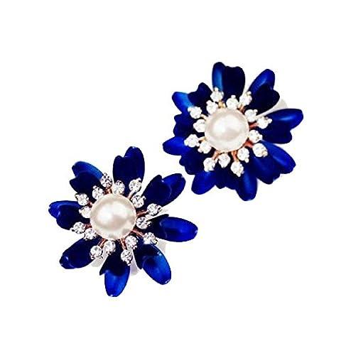 Noble Blue Flowers Diamonds Ear Earrings Earrings,Blue-L