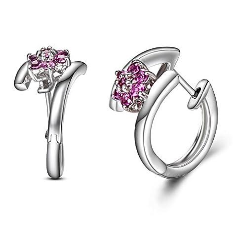 hutang Jewelry Natur rhdolite Granat Blumen Hoop Ohrringe Massiv 925Sterling