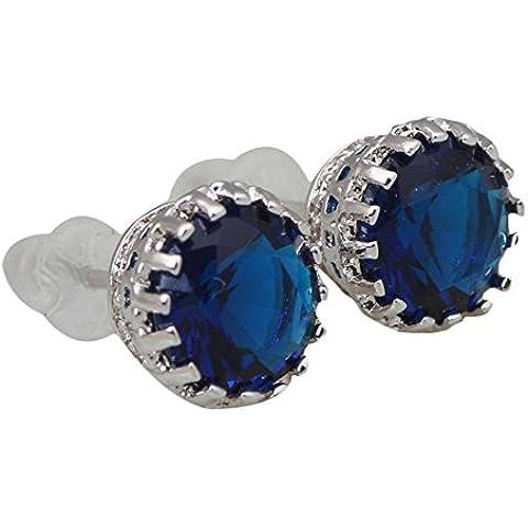 Brand design Deep topazio blu zaffiro 18K oro bianco placcato orecchini moda Cute Jewelry E266