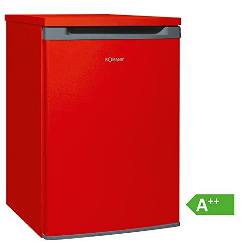 Bomann VS 354 Vollraumkühlschrank EEK A++, 130 L, HxBxT: 86x55x56,8 cm, 88 kWh/Jahr, Türanschlag wechselbar, stufenlose Temperatureinstellung, Abtauautomatik, rot -