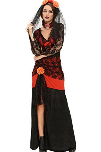 Fortuning's JDS Sexy Spitze Maxi Kleid 3pcs Tag der toten Diva Halloween Kostüm (Wonder Woman Kostüme Für Jugendliche)