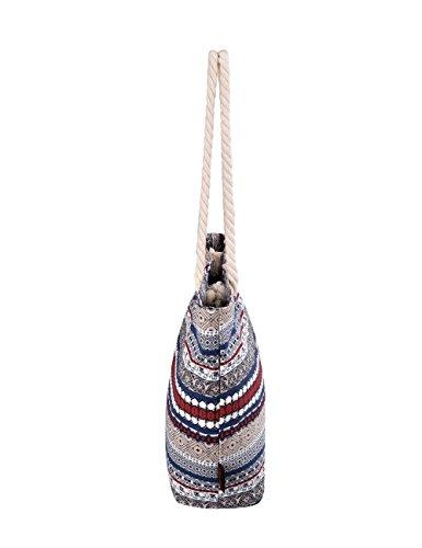 Douguyan tela di canapa variopinto di modo di svago del sacchetto di spalla della spiaggia allingrosso signore tote shoulder bag borse donna Ragazze canvas beach shopping women handbag 252H Elefante