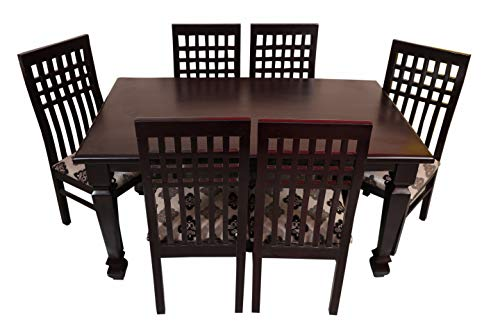 Sapna House Solid Teak Wood 6 Seater Dining Table Set Teak Wood Available in Glossy and Matt Finish
