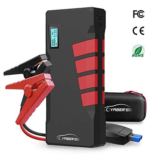 Preisvergleich Produktbild Yaber Starthilfe-Starter,  1000 A,  12 V,  20800 mAh,  Autobatterie-Booster (bis zu 7, 5 l Gas oder 5, 5 l Diesel),  tragbares Handy-Ladegerät mit LCD-Display,  Dual-QC3.0 USB-Ausgang und LED-Taschenlampe