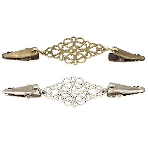 Fenical 2 stücke Vintage Pullover Clip Retro Strickjacke Clip Kragen Clip Intarsien Krawatte Schal Clip (Alte Bronze und Alte Silber) (2 Pullover Stück)
