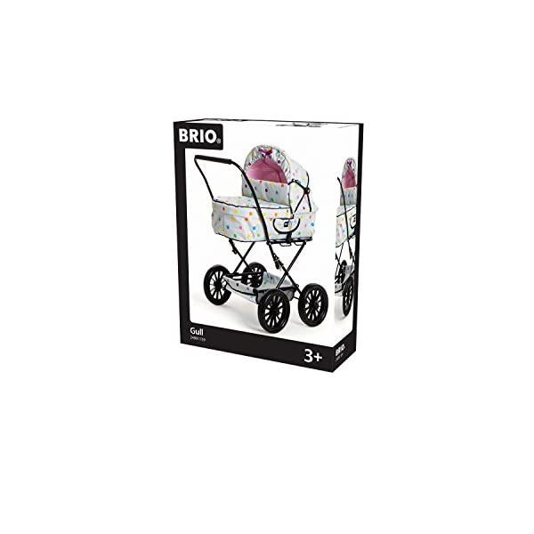 POPPENWAGEN COMBI GRIJS MET ST Ravensburger Combi Doll's Pram in a new design with multi-coloured dots With removable carry bag With adjustable push handle from 44to 79cm 2