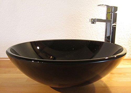 Nero Aufsatz Glas Waschbecken schwarz Glitzer 42cm rund