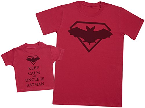 Keep Calm My Uncle is Batman - Ensemble Père Bébé Cadeau - Hommes T-Shirt & T-Shirt bébé - Rouge - Medium & 3-6 Mois