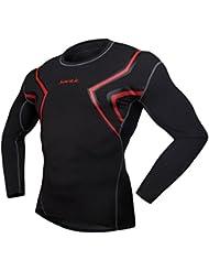 Compresión Santic sumaccn camiseta de manga larga para hombre, hombre, color Negro - negro, tamaño small