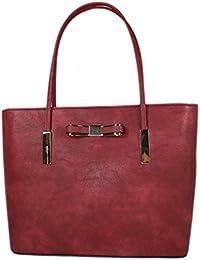 Elegante Damen Handtasche Henkeltasche rot 9129