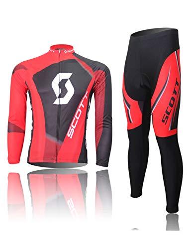 Fonly Männer und Frauen Jersey Langarm Anzug Mountain Bike Radfahren Shorts ausgestattet Fahrradkleidung Radfahren Jersey (Color : W, Size : XXXL:(180-192cm)(90-99kg))