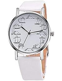 Scpink Precioso Gato de Dibujos Animados Relojes Banda de Cuero Reloj de Pulsera de Cuarzo analógico