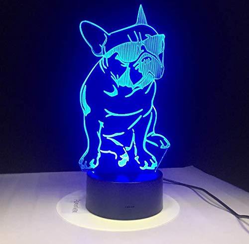 Tragende Farbe der Sonnenbrille-Hund3d-Lampen-7 führte Nachtlampen für Kindnote geführtes Usb-Tabellen-Schlafennachtlicht