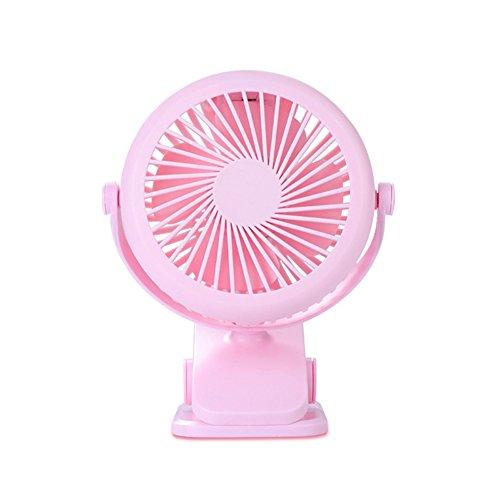 Aubess Neuen Sommer Tragbar 360Grad Drehbar Clip Fan USB Elektrischer Ventilator Tisch Wand aufhängen Tisch Wiederaufladbar Ordner Fan, Plastik, Rose, 90×150×42mm (Ordner-fan)