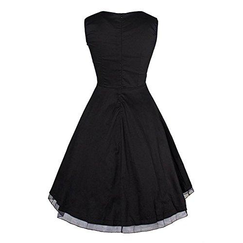 Damen Vintage Petticoat Kleid ~ 50er Jahre Kleid ~ Schwarz - 4