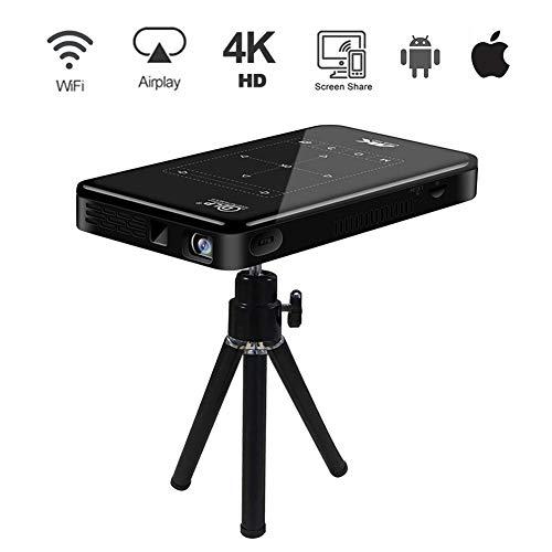 4K Beamer-Therm Mini DLP Projektor Videobeamer Android 6.0, Dual WiFi Bluetooth 4.0, Unterstützung 4K Video, HDMI-Eingang für iPhone Smartphone PC Laptop Fußballspiel Büro Zuhause