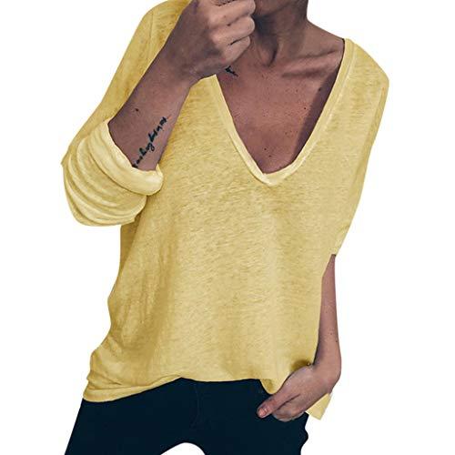 Andouy Damen Lässige Drucken Oberteile Lose Lange Ärmel V-Ausschnitt Pullover Sweatshirts(L(42).Gelb) -