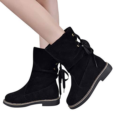 OSYARD Damen Halbschaft Boots Schnürstiefelett Stiefeletten Flache Frauen Snow Shoes Wildleder Booties Middle Tube Schnee Stiefel Winter Warme Baumwolle Schuhe(220/35, Schwarz)