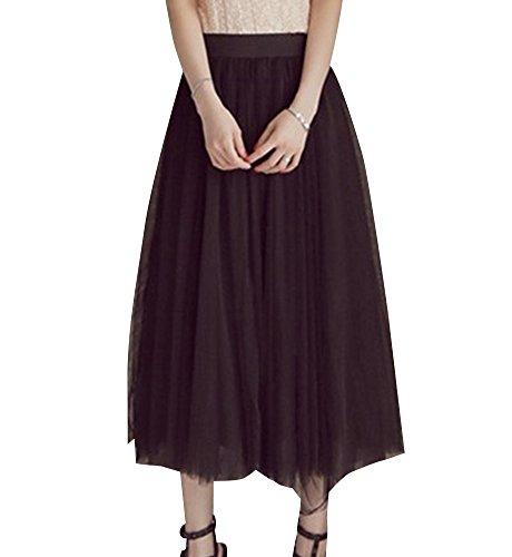 Falda Mujer Largo Cintura Elástica Tul De Noche Fiesta Prom Falda Negro S f1dbe32e7c51