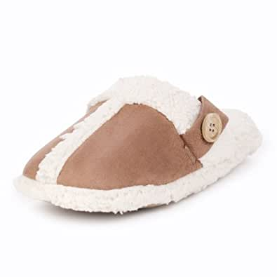 Tan Buttoned Trimmed Mule Slippers-L