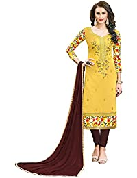 81789491fb V Sales Yellow Semi Stitched Embroidered Cotton Salwar Suit Material