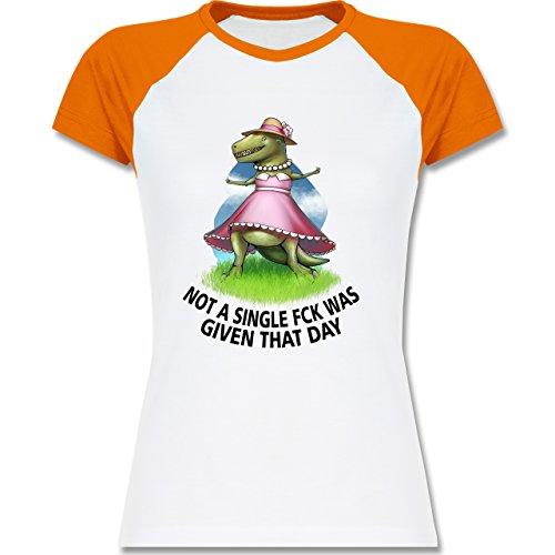 Statement Shirts - Not a single fck - T-Rex - zweifarbiges Baseballshirt / Raglan T-Shirt für Damen Weiß/Orange