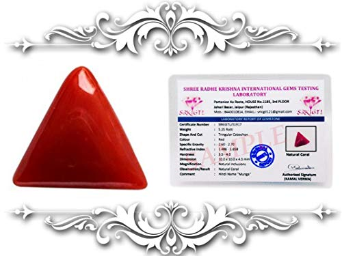 SIDDHI VINAYAK GEMS AND JEWELLERS 100% Top Italian Coral Munga 5.50 Ratti with Lab Certified Card and Guarantee Card {red Coral Gemstone Natural/Lucky Stone red Coral/Coral Astrology/moonga Stone Triangle}