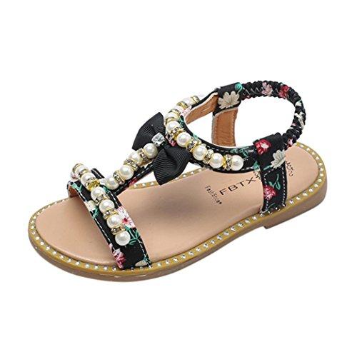 Bonjouree Sandales Fille Ete Chaussures Souples en Cuir Artificiel de Bowknot