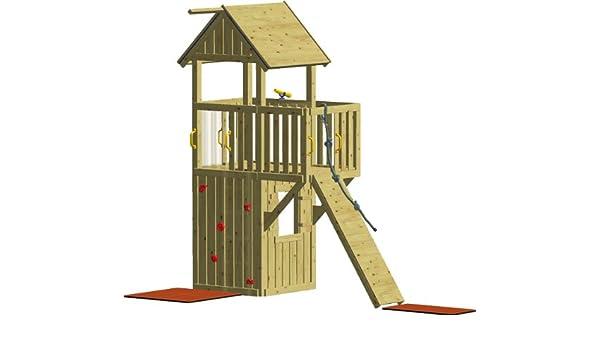 Xxl Klettergerüst 2 4m Kletterturm Mit Kletternetz Reckstange Kletterwand Leiter : Winnetoo fee spielturm amazon spielzeug