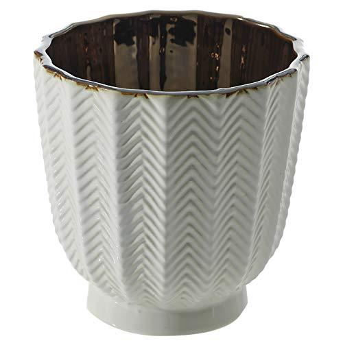 Accent Decor Vase mit Fischgrätenmuster, Keramik, weiß&bronze